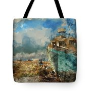 Watercolour Painting Of Abandoned Fishing Boat On Beach Landscap Tote Bag