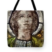Watercolour Painting Of Stained Glass Religious Window In Church Tote Bag
