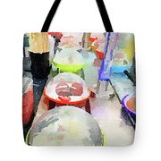 Watercolour Painting Of Sushi Dishes On The Belt Tote Bag