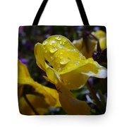 Waterdrops On A Pansy Tote Bag