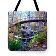 Waterfall And A Bridge In The Fall Tote Bag