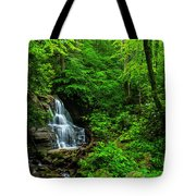 Waterfall And Rhododendron In Bloom Tote Bag