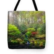 Waterfall At Lower Pond In Japanese Garden Tote Bag