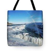 Waterfall Gullfoss In Winter Iceland Europe Tote Bag