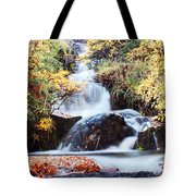 Waterfall In Autumn Tote Bag