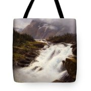 Waterfall In Norweigian Mountain Landscape Tote Bag