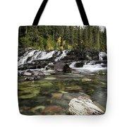 Waterfall Mcdonald Creek Tote Bag