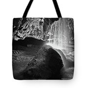 Waterfall Of The Caverns Black And White Tote Bag