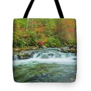 Waterfall On Little Pigeon River Smoky Mountains Tote Bag