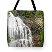 Waterfall With Green Leaves Tote Bag