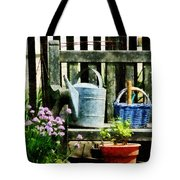 Watering Can And Blue Basket Tote Bag