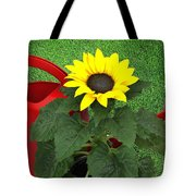 Watering With Sunflower Tote Bag