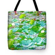 Waterlily Blossoms On The Protected Forest Lake Tote Bag