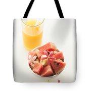 Watermelon And Banana Fruit Salad With Orange Juice Tote Bag