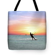 Watersport On Thecaribbean Sea At Aruba Island At Sunset Tote Bag