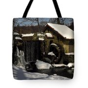 Waterwheel With Snow Tote Bag