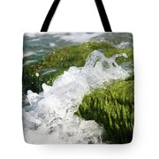 Wave Splash On The Green Rock Tote Bag