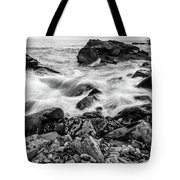 Waves Against A Rocky Shore In Bw Tote Bag by Doug Camara