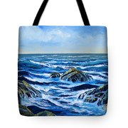 Waves And Foam Tote Bag