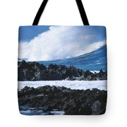 Waves And Rocks Tote Bag