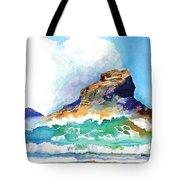 Waves Bursting On Rocks Tote Bag
