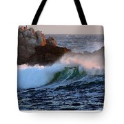 Waves Crash Against The Rocks Tote Bag
