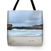 Waves Crashing Ashore With Large Rock Formations Tote Bag