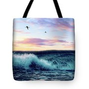 Waves Crashing At Sunset Tote Bag