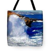 Waves Crashing On The Rocks Tote Bag