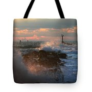 Waves Crashing Over The Jetty Tote Bag