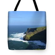 Waves From Galway Bay Crashing Against The Cliff's Of Moher Tote Bag