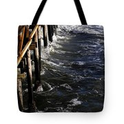 Waves Hitting Santa Monica Pier Tote Bag