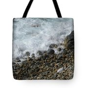 Waves Meet Pebbles Tote Bag