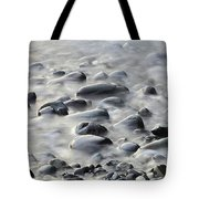 Waves On Cobble-panoramic Tote Bag