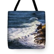 Waves Rocks And Birds Tote Bag