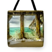 Waves Smash Into The Pier Tote Bag