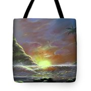 Waves Through The Sunset Tote Bag