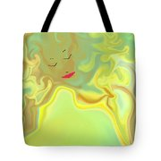 Wavy Hair And Red Lips Tote Bag
