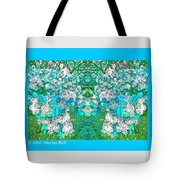 Waxleaf Privet Blooms In Aqua Hue Abstract With Aqua Frame Tote Bag