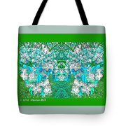 Waxleaf Privet Blooms In Aqua Hue Abstract With Green Frame Tote Bag