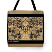 Waxleaf Privet Blooms In Black And White - Color Invert With Golden Tones Abstract Tote Bag