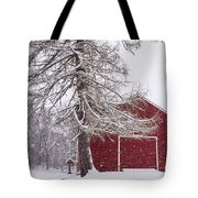 Wayside Inn Red Barn Covered In Snow Storm Reflection Tote Bag