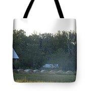 Weathered Barn And Hay Bales  Tote Bag
