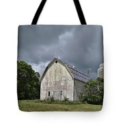 Weathered Barn And Silo Under A Cloudy Sky Tote Bag