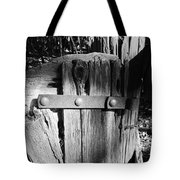 Weathered Fence In Black And White Tote Bag