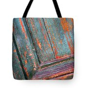 Weathered Orange And Turquoise Door Tote Bag