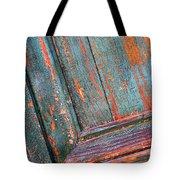 Weathered Orange And Turquoise Door Tote Bag