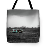 Weathered - Old Car In Texas Field Tote Bag