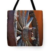 Weathered Wagon Wheel  Tote Bag