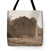 Weathered Wisconsin Barn In Sepia Tote Bag